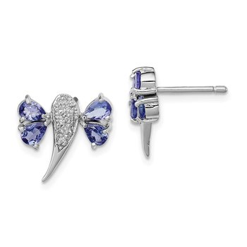 Sterling Silver Rhodium Plated Diamond/Tanzanite Dragonfly Earrings