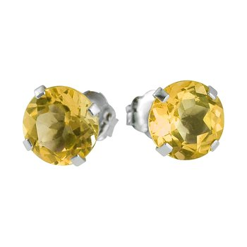 14k White Gold 6mm Round Citrine Stud Earrings (1.2 ct)