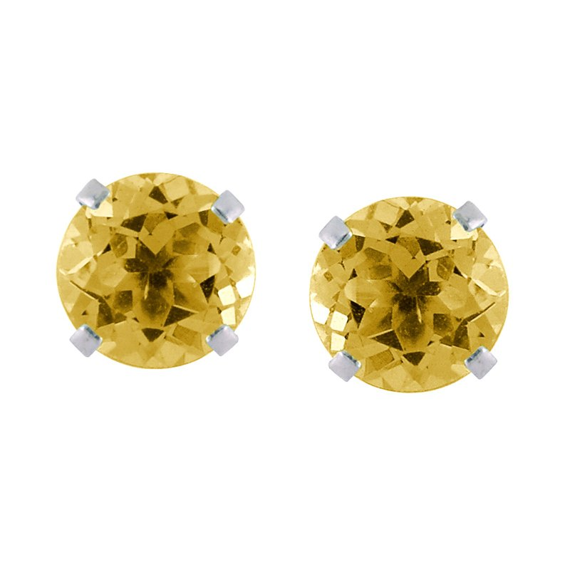 Color Merchants 14k White Gold 6mm Round Citrine Stud Earrings (1.2 ct)