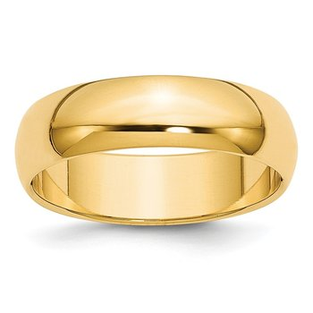 14k 6mm Half-Round Wedding Band