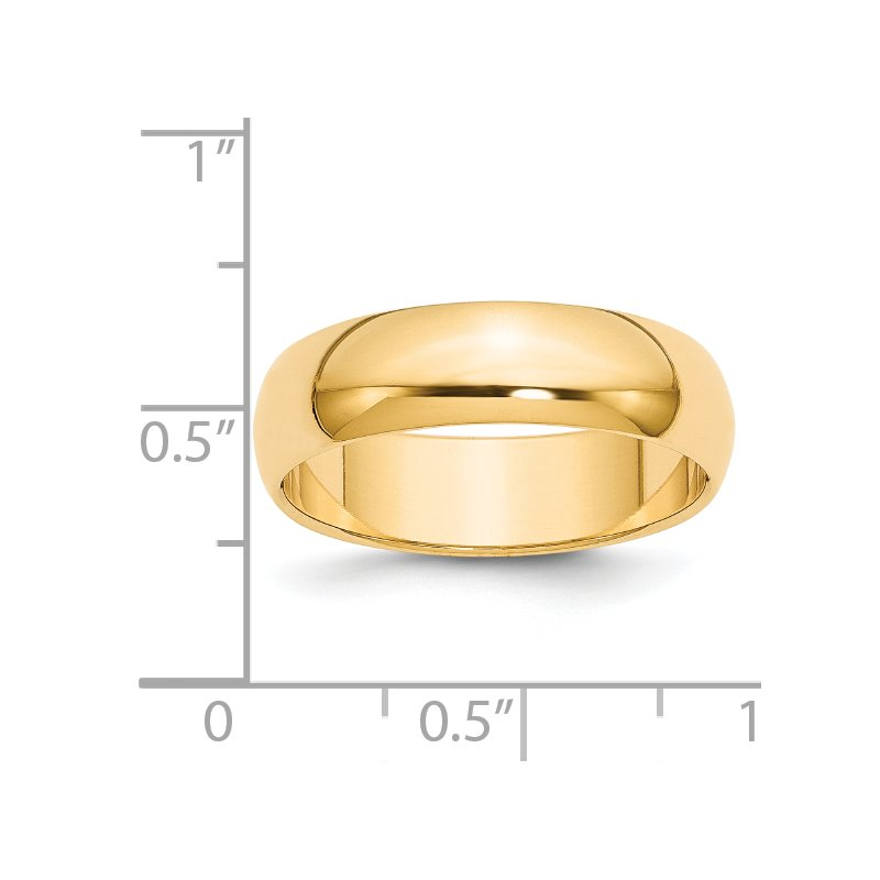 Quality Gold 14k 6mm Half-Round Wedding Band