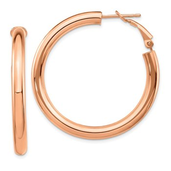 14k Rose Gold 4x30mm Polished Round Omega Back Hoop Earrings