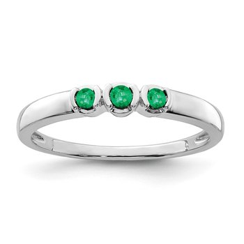 Sterling Silver Rhodium-plated Polished Emerald Ring