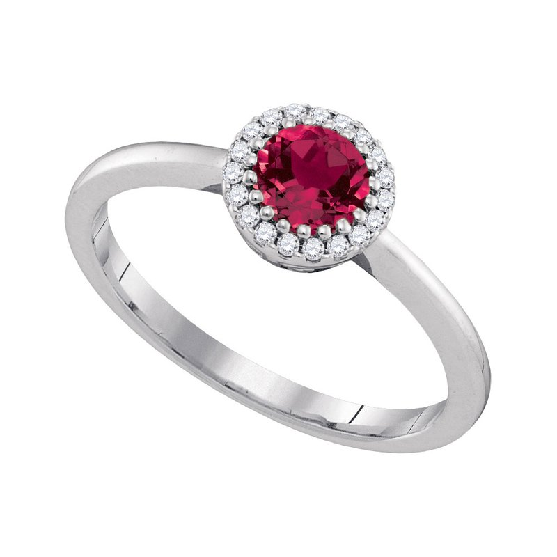 Kingdom Treasures 14kt White Gold Womens Round Natural Ruby Solitaire Diamond Halo Bridal Ring 1/2 Cttw