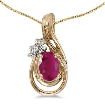 14k Yellow Gold Oval Ruby And Diamond Teardrop Pendant