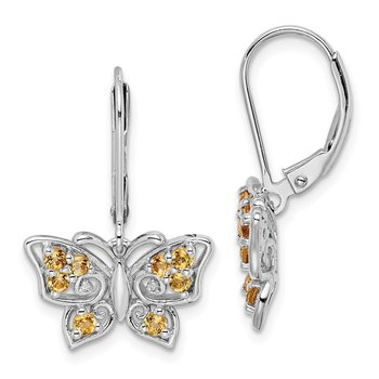 Sterling Silver Rhodium-plated Whiskey Quartz Diamond Earrings