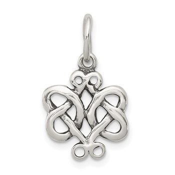 Sterling Silver Antiqued Scroll Celtic Knot Charm