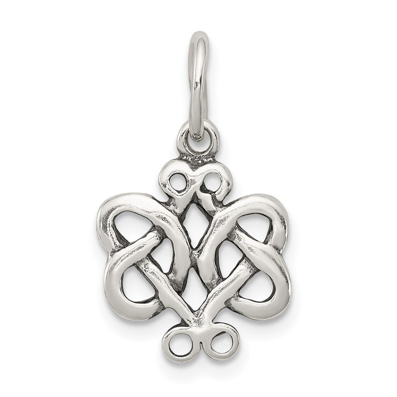 Quality Gold Sterling Silver Antiqued Scroll Celtic Knot Charm