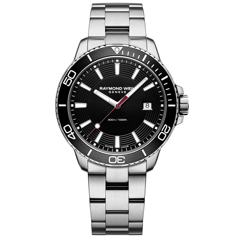 Raymond Weil Quartz, 42mm steel on steel, black dial, rotating bezel