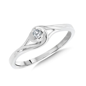 10K White Gold Spiral Bypass Diamond Promise Ring