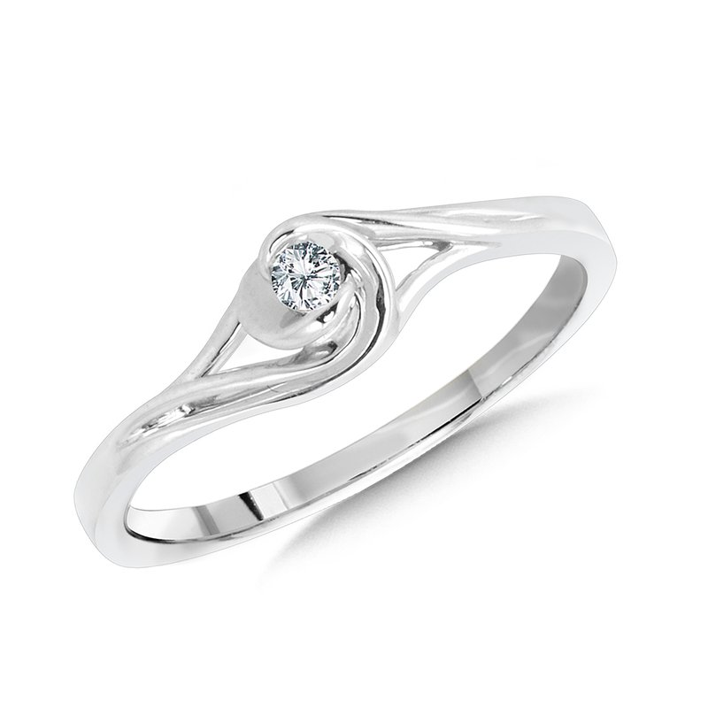 SDC Creations 10K White Gold Spiral Bypass Diamond Promise Ring