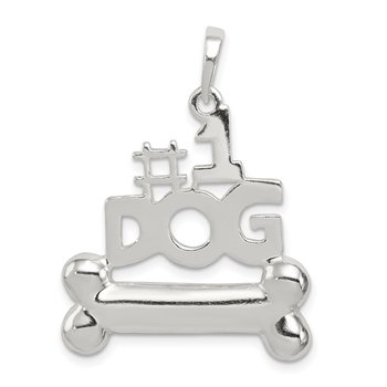 Sterling Silver #1 Dog with Bone Pendant