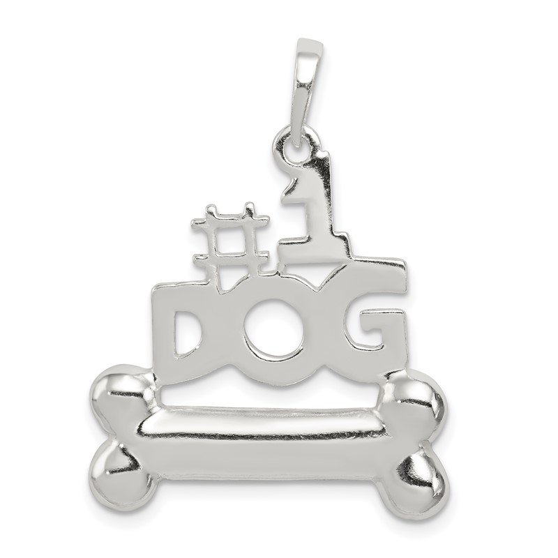 Quality Gold Sterling Silver #1 Dog with Bone Pendant