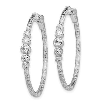 Sterling Silver Rhodium-plated CZ Textured Hoop Earrings
