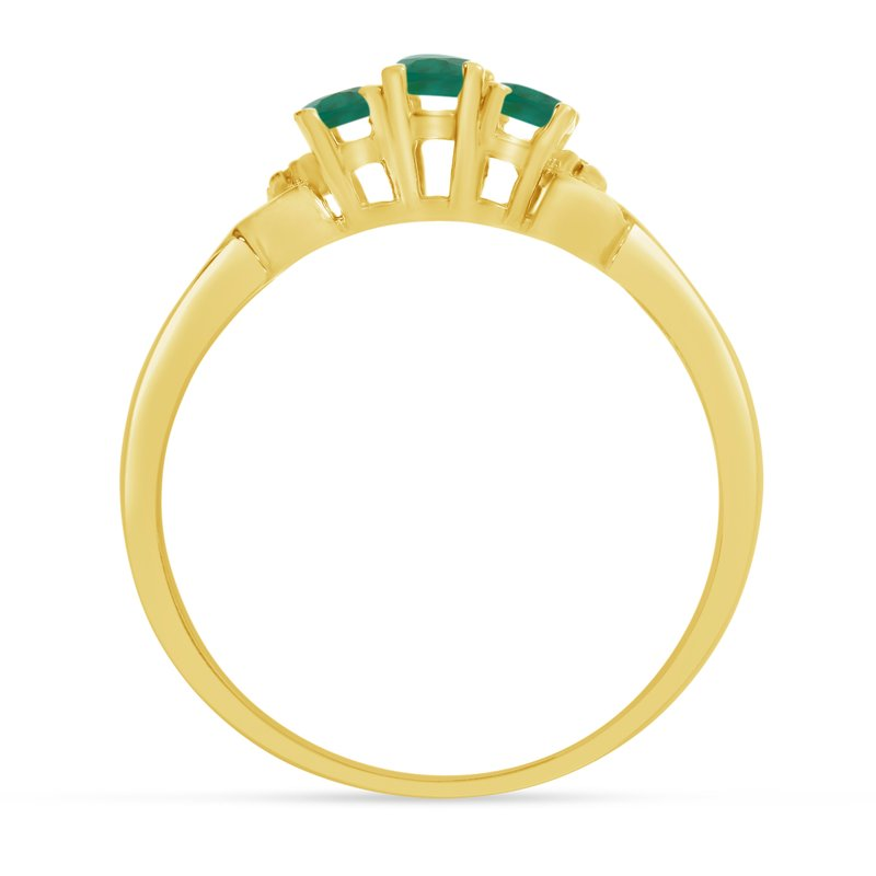 Color Merchants 14k Yellow Gold Oval Emerald And Diamond Three Stone Ring