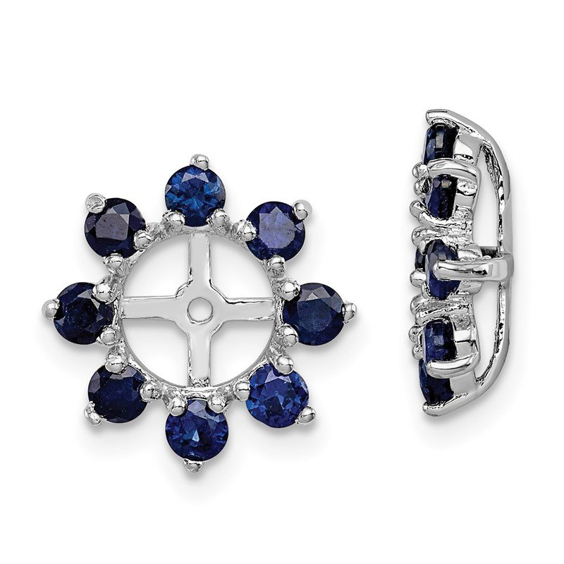 JC Sipe Essentials Sterling Silver Rhodium Created Sapphire Earring Jacket