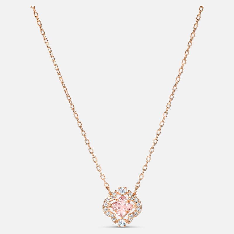 Swarovski Swarovski Sparkling Dance Clover Necklace, Pink, Rose-gold tone plated