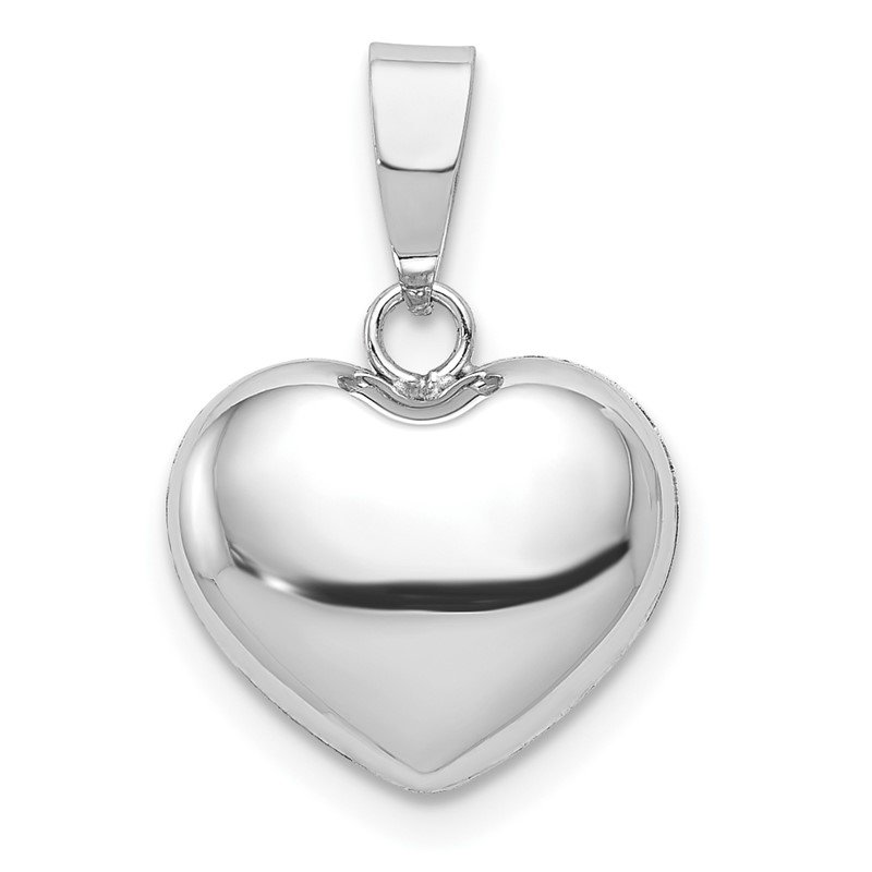 Quality Gold 14k White Gold 3D Puffed Heart Pendant