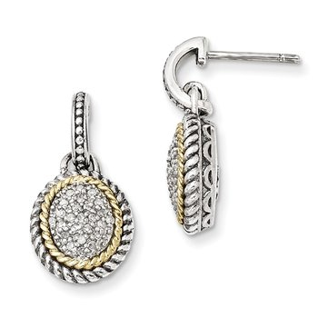 Sterling Silver w/14k Antiqued Diamond Post Dangle Earrings