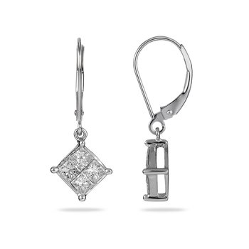 14K WG Diamond Drop Ear-rings