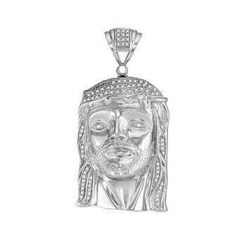 10kt White Gold Mens Round Diamond Jesus Christ Head Messiah Charm Pendant 3/8 Cttw