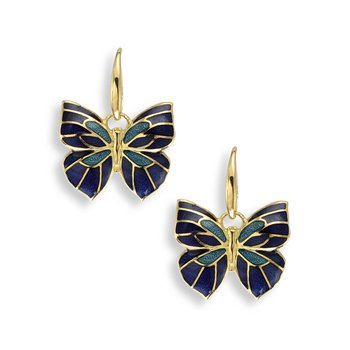 Blue Butterfly Wire Earrings.18K