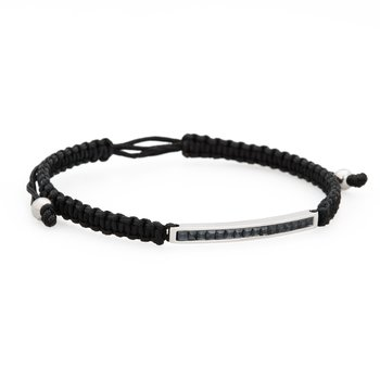 Bracelet. 316L stainless steel, black cotton macramé cord and silver night Swarovski® Elements crystals