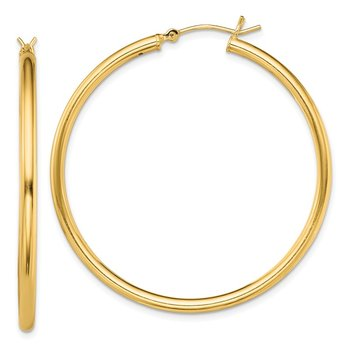 Sterling Silver Gold-Tone Polished 2x45mm Hoop Earrings