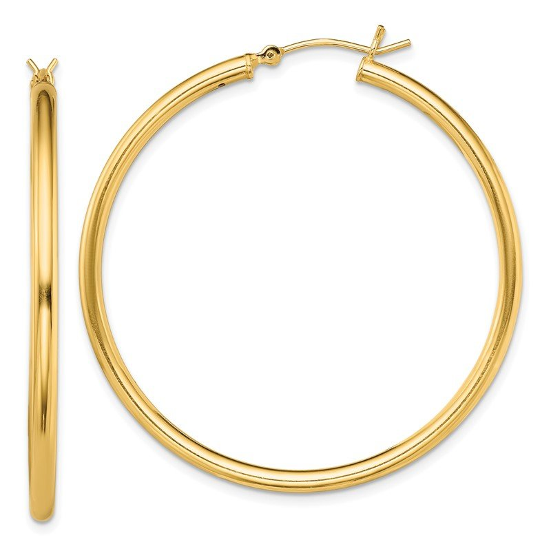 Quality Gold Sterling Silver Gold-Tone Polished 2x45mm Hoop Earrings