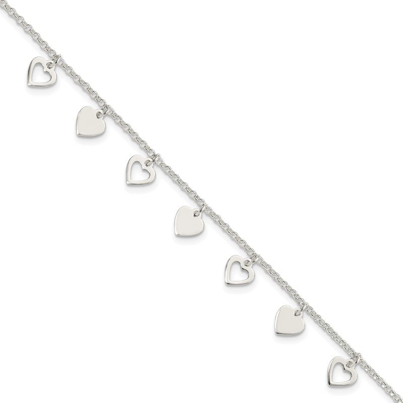J.F. Kruse Signature Collection Sterling Silver w/ Hearts Bracelet
