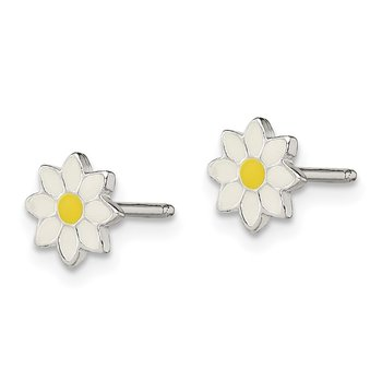 Sterling Silver Polished & Enameled Flower Post Earrings