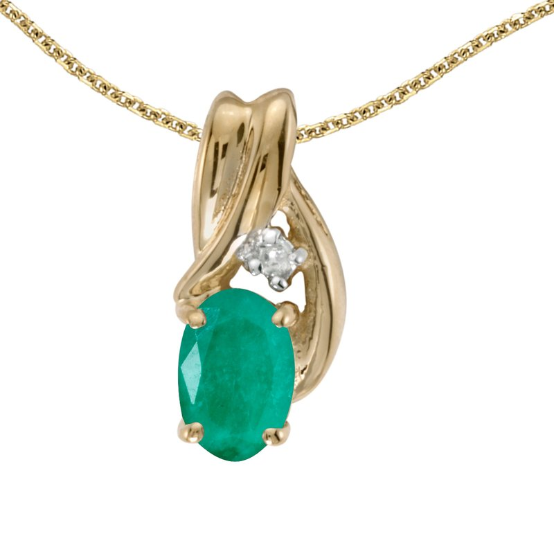 Color Merchants 10k Yellow Gold Oval Emerald And Diamond Pendant
