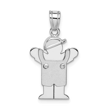 14k White Gold Small Boy with Hat on Left Engravable Charm