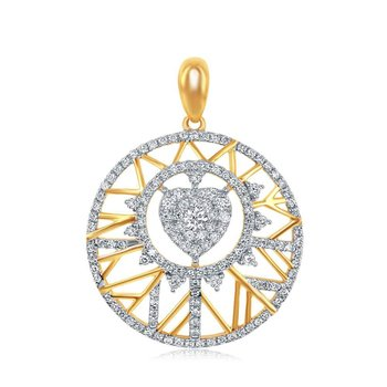 14kt Yellow Gold Womens Round Diamond Circle Heart Pendant 5/8 Cttw