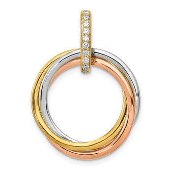 14k Tri-color 1/10ct. Diamond Intertwined Circles Pendant