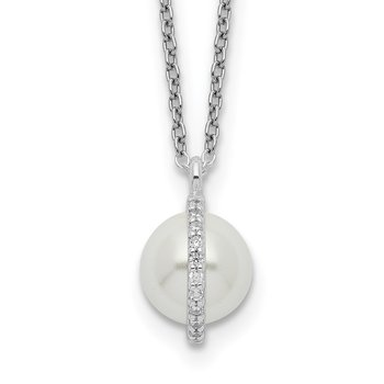 Sterling Silver CZ and Glass Pearl w/1.25in ext. Necklace