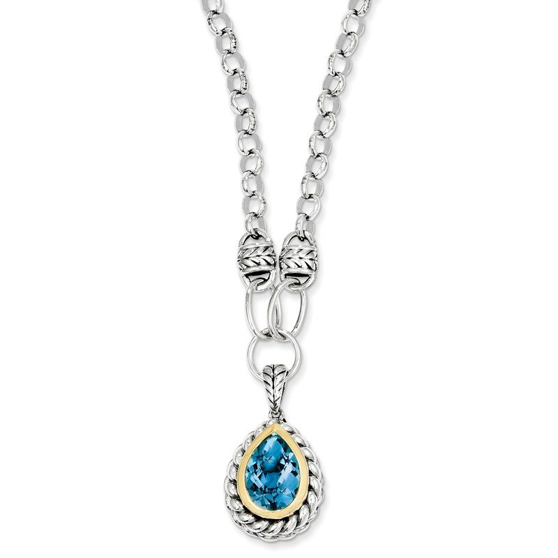Shey Couture Sterling Silver w/14k Swiss Blue Topaz Necklace