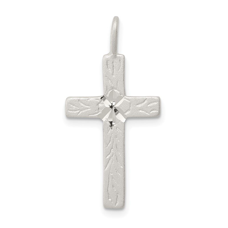 Quality Gold Sterling Silver Diamond-cut Cross Pendant