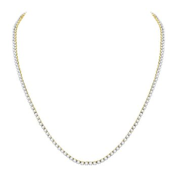 "10kt Yellow Gold Mens Round Diamond Solitaire Linked 22"" Necklace 10-1/2 Cttw"