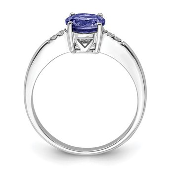 Sterling Silver Rhodium Round Tanzanite & Diam. Ring