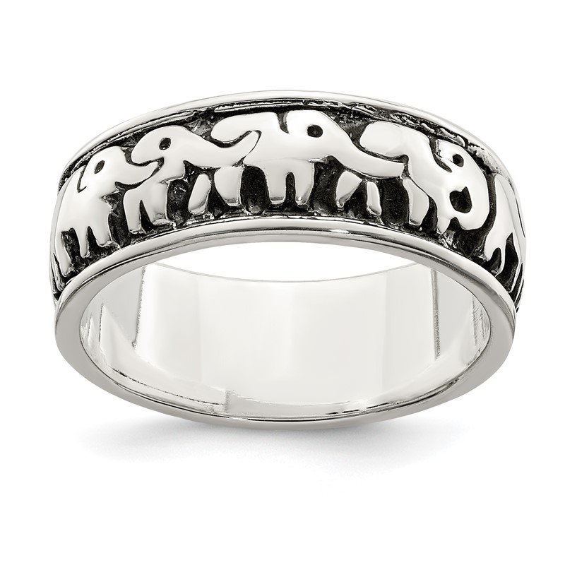 Quality Gold Sterling Silver Polished and Antiqued Elephants Ring