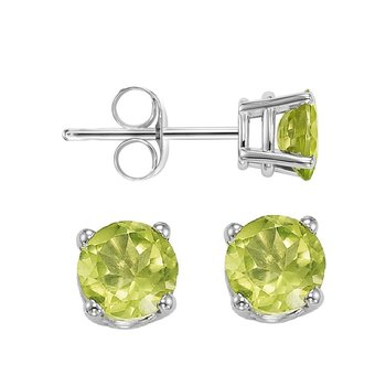 Four Prong Peridot Studs in 14K White Gold (5 MM)