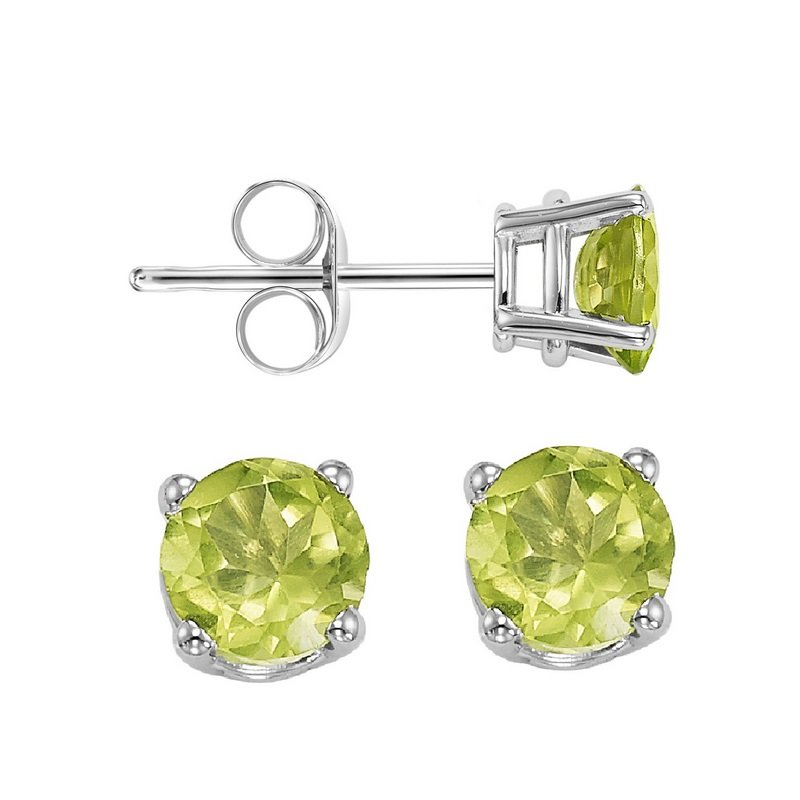 Gems One Four Prong Peridot Studs in 14K White Gold (5 MM)