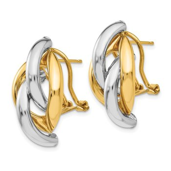 14k Two-tone Swirl Omega Back Post Earrings