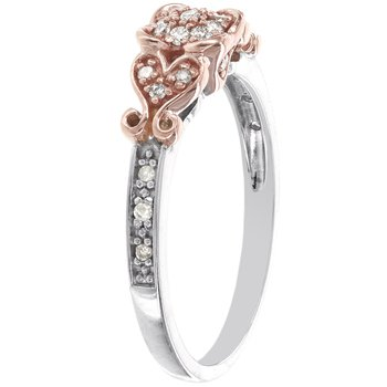 Sterling Silver and 10k Rose Gold 1/6ct TDW Diamond Promise Ring