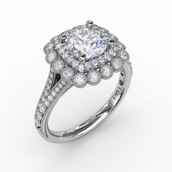 Vintage Double Halo Engagement Ring With Milgrain Details