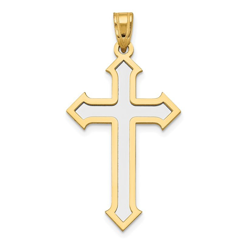 Quality Gold 14k Two-tone Passion Cross Pendant
