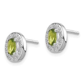 Sterling Silver Rhod-plated Light Green and White CZ Oval Stud Earrings