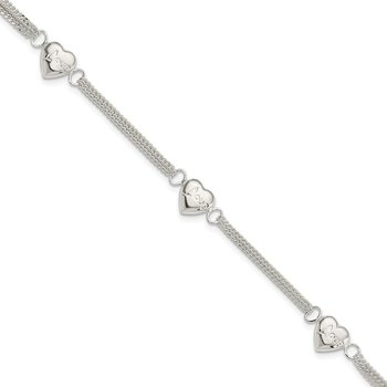 Sterling Silver Heart with Love Bracelet