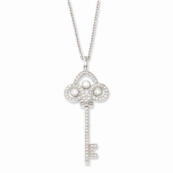 SS Rhodium-Plated CZ Brilliant Embers Polished Key Necklace